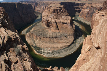 The Colorado River meanders through Horseshoe Bend in Arizona  USA