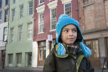 Boy sightseeing in New Orleans  Louisiana  USA