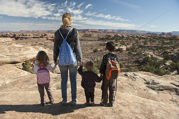Family looking at scenic view in Canyonlands National Park  Utah  USA