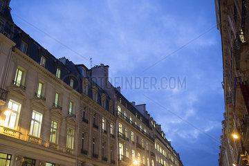 Apartment building at dusk