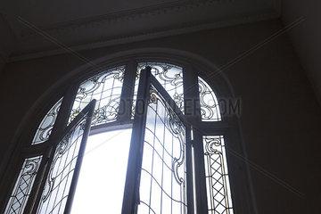 Leaded french windows  open