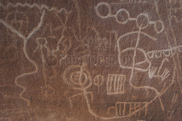 Close-up of petroglyphs in Valley of Fire State Park  Nevada  USA