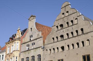 Haeuserzeile in Wismar  Mecklenburg Vorpommern  Deutschland