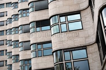 detailed view on the facade of the shell-haus in berlin germany. architect of the bauhaus style building was Emil Fahrenkamp