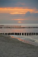 baltic sea coast at sunset in east germany