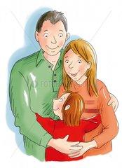 Familie umarmen - Serie Familie