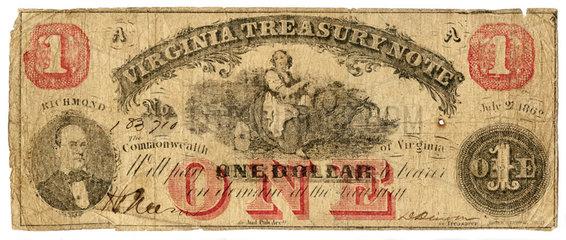 One Dollar  Geldschein  Konfoederierte Staaten von Amerika  1862