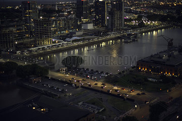Aerial view city and river waterfront