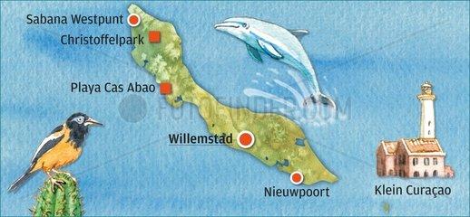 Curaçao _ illustrierte Landkarte