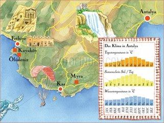 Antalya _ illustrierte Landkarte