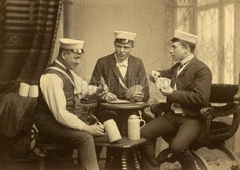 Studenten beim Kartenspielen  Dresden  1906