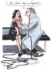 Arzt Patientin Blutdruckmessung