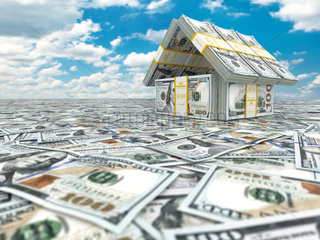 Bank. House from pack of dollar on cloudscape.