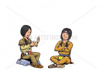 Junge Indianer Zeichensprache