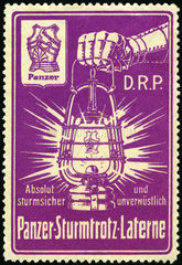 Sturmtrotz Laterne  Werbemarke  1912
