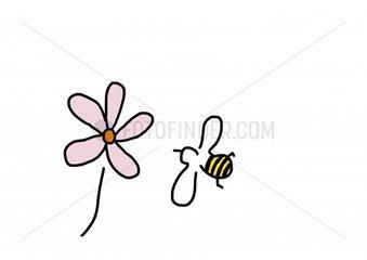 Biene vor Blume zum Honig sammeln 2