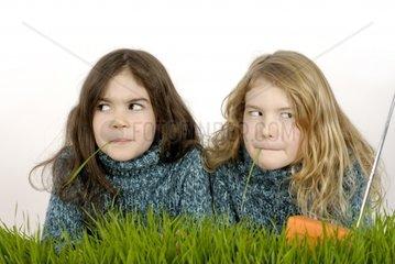 Kleine Maedchen im Gras hoeren Radio