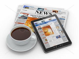 Morning news. Tablet pc