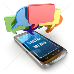 Mobile phone and social media speech bubbles.