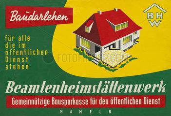 Werbung fuer Bausparkasse BHW  1958