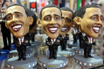 New York  USA  Figuren des US-Praesidenten Barack Obama