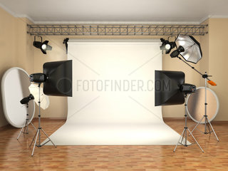 Photo studio with lighting equipment. Flashes  softboxes and reflectors.