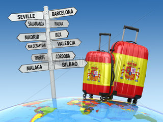 Travel concept. Suitcases and signpost what to visit in Spain.