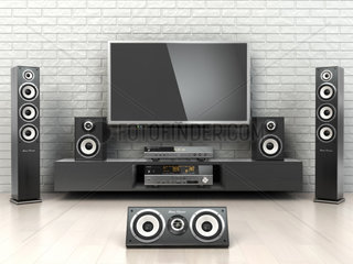 Home cinemar system. TV  oudspeakers  player and receiver in the room.