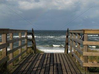 Sylter Strandtreppe im Sturm  Schleswig Holstein  Deutschland