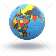 Political world globe on white isolated background. 3d