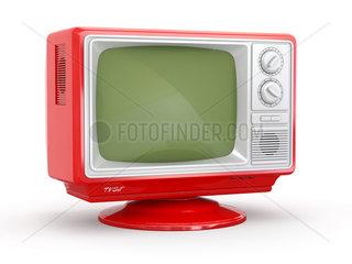 Red vintage retro tv on white background. 3d