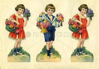 drei Kinder mit Blumen  Poesiealbum  1929