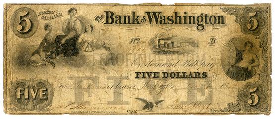 Five Dollars  Geldschein  Konfoederierte Staaten von Amerika  1862