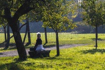 Seniorin entspannt sich zu frueher Stunde in freier Natur