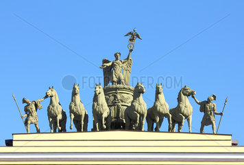 sculptural group on Arch of General Staff in St. Petersburg