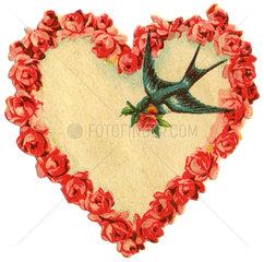 Herz aus Rosen  Liebessymbol  Poesiebild  1910