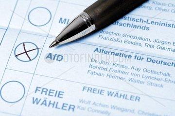 Stimmzettel fuer die Bundestagswahl  Alternative fuer Deutschland  AfD