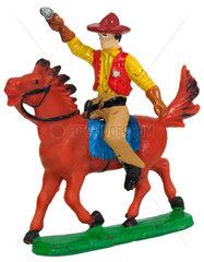 Sheriff mit Pistole auf Pferd  Elastolinfigur  um 1963