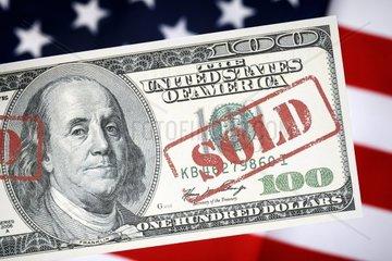 100-Dollar-Note mit Sold-Stempel  Schuldenkrise in den USA