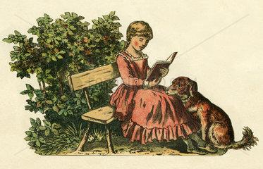 Maedchen liest ein Buch  Hund  Illustration 1888
