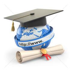 E-learning. Globe  diploma and mortar board.