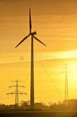 Windrad und Hochspannungsmasten bei Sonnenuntergang in Hamburg  Deutschland