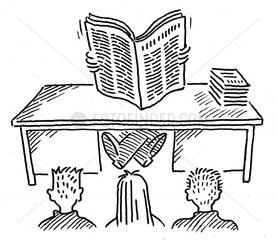 Lehrer liest Zeitung