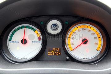 Cottbus  Deutschland  Eco- und Tachometer im Elektroauto CETOS