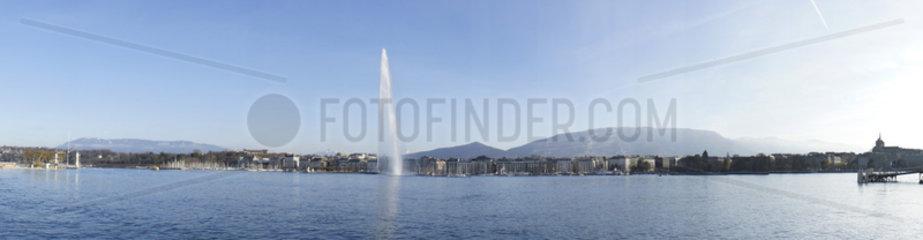 Schweiz  Genf  der Genfer See mit dem Wahrzeichen der Stadt: Jet d'eau