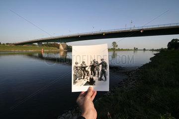 D-Sachsen: Torgau  Elbbruecke Begegnung der amerikanischen und russischen Truppen