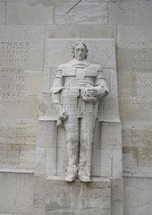 Schweiz  Genf  Die Mauer der Reformation im Park des Bations  Detail
