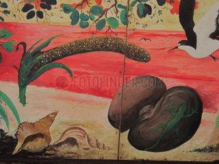 Seychellen Wandgemaelde weibliche und maennliche Coco de Mer