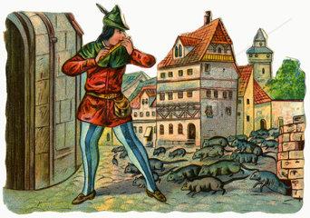 Der Rattenfaenger von Hameln  deutsche Sage  Poesiebild  1900