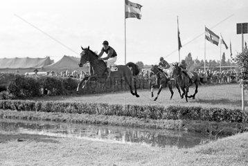 Hamburg  Deutschland  Pferd und Jockey springen ueber einen Wassergraben